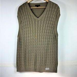 CLUB ROOM XL Cable Knit Beige Cotton Sweater Vest